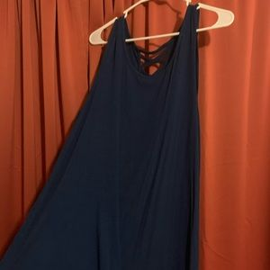 Blue Tank Top with side slit